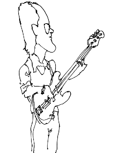Caricature by an unknown artist from a Second Line band gig at O'Lunny's in NYC, 1978
